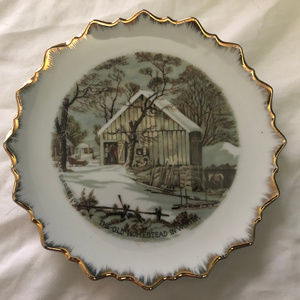 Currier & Ives The Old Homestead in Winter Plate